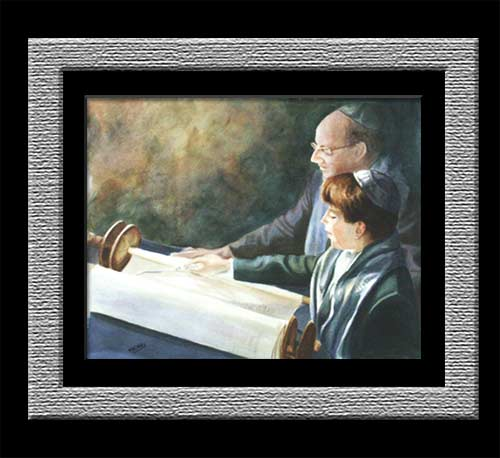 watercolor of rabbi and boy during his bar mitzvah
