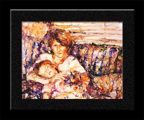gelled watercolor of mother holding sleeping child