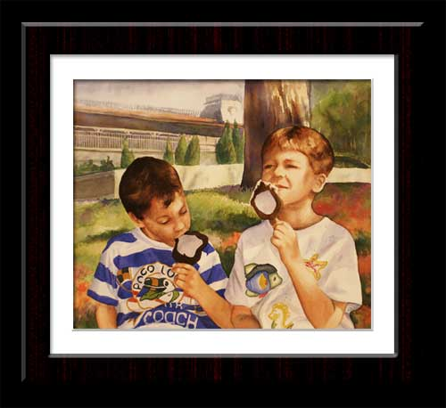 watercolor of two boys eating ice cream at Epcot
