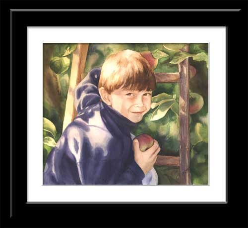 watercolor of young boy in apple tree