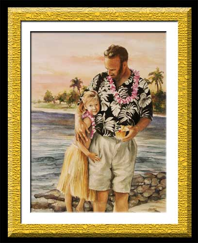 watercolor of dad with young daughter in Hawaii
