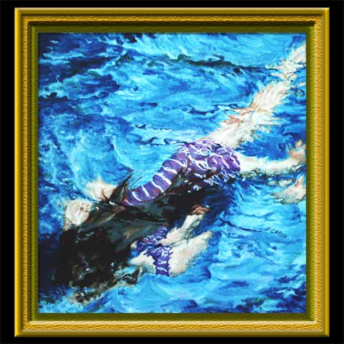 Swimmer In Ultramarine an oil painting by CBCarey