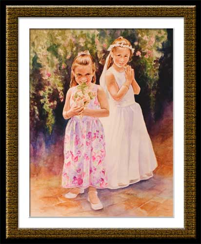watercolor of two sisters at first communion